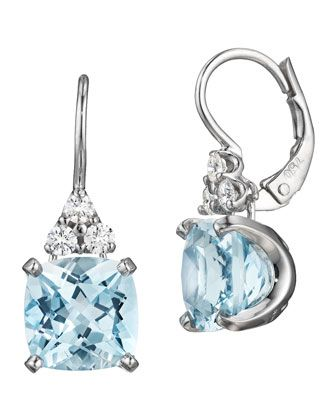 Diamond Triangle-Top Aquamarine Earrings in 18K white gold - Jane Taylor in the Precious Jewelry Fashion Dash at @Janet Stansberry Call Last Call by Neiman Marcus
