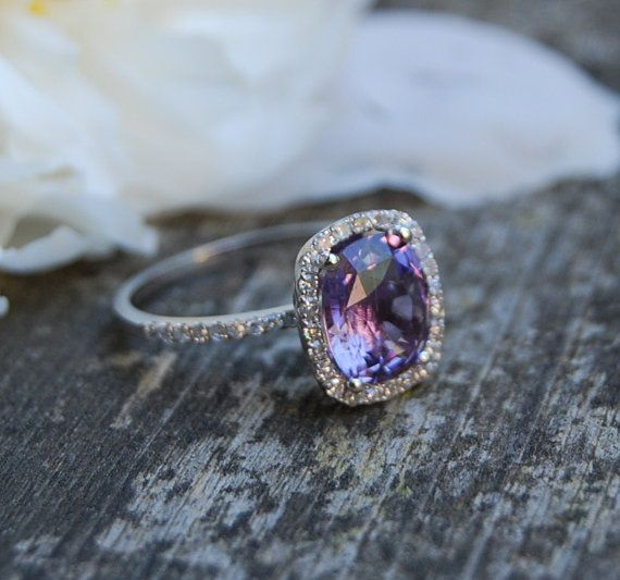 Love this ring! - 26ct Cushion Plum color change sapphire 14k white by EidelPrecious