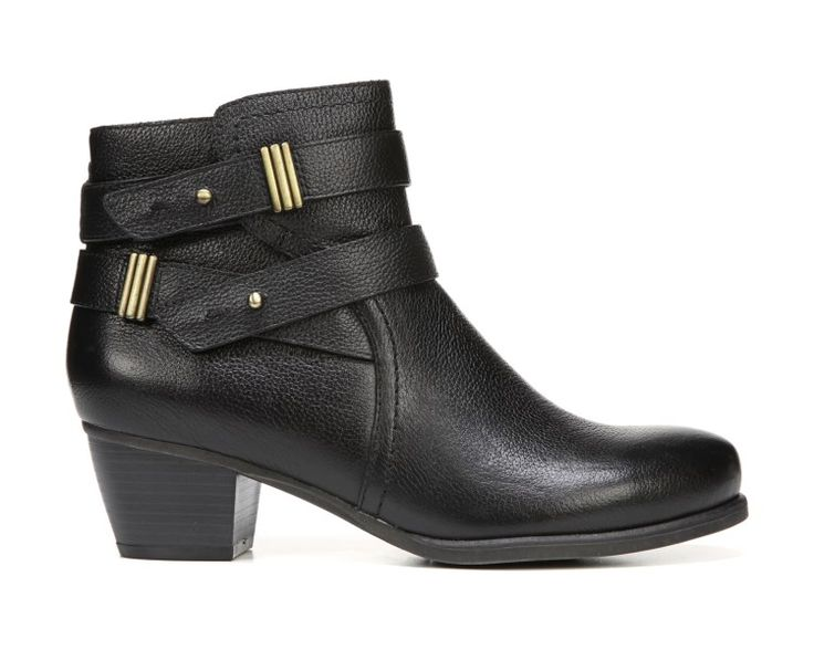 Show off your sense of style with the Kepler ankle boots from Naturalizer.Leather upper in a tailored boot style with a round toeSide zip closureWraparound strap detail with metallic hardware accentsSmooth lining, cushioning insole for all-day comfortNon-slip outsole for stability, 1 3/4 inch heel