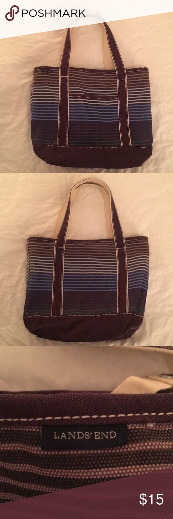 Lands' End Small print canvas tote Blue and purple striped canvas tote.  With pouches for keys, phone, laptop. Very sturdy Lands' End Bags Totes