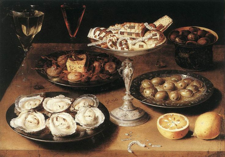 Osias Beert (C. 1580–1624) »Still Life with Oysters, Pastry And Fruits« 1610 Oil on copper Staatsgalerie Stuttgart