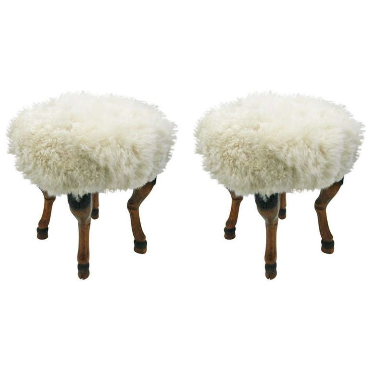 1stdibs.com | A Pair of Shearling Upholstered Stools with Hoof Feet.  sc 1 st  Pinterest & Best 25+ Upholstered stool ideas on Pinterest | Weather bar Stool ... islam-shia.org