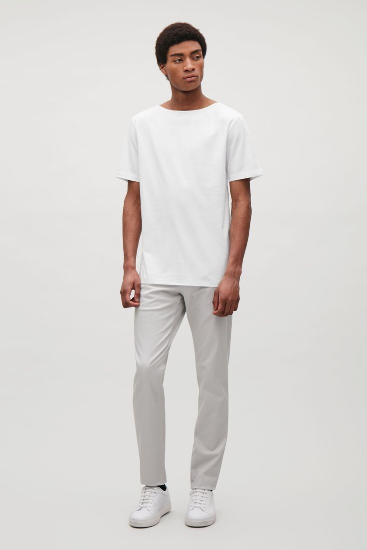 COS image 6 of T-shirt with wide neck in White