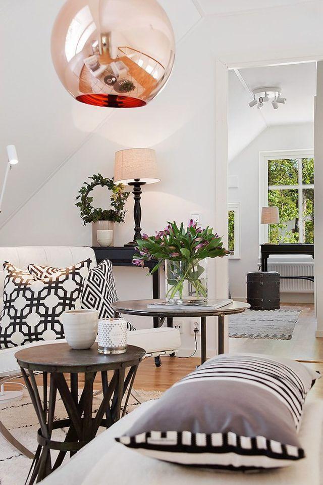 Tom Dixon lampen ball i kobber i smuk nordisk indretning