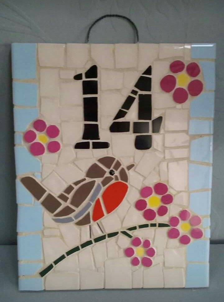 20x25 cm Mosaic House Number  Robin on branch