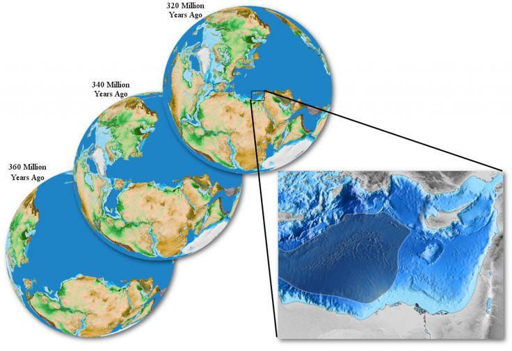 Evolución de la corteza hace 360, 340 y 320 millones de años