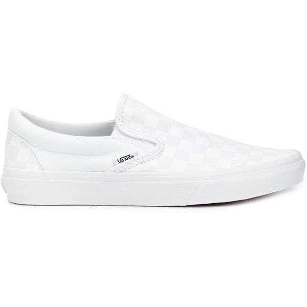 Vans Slip-on Sneakers ($47) ❤ liked on Polyvore featuring shoes, sneakers, white, slipon shoes, leather trainers, leather shoes, white sneakers and genuine leather shoes