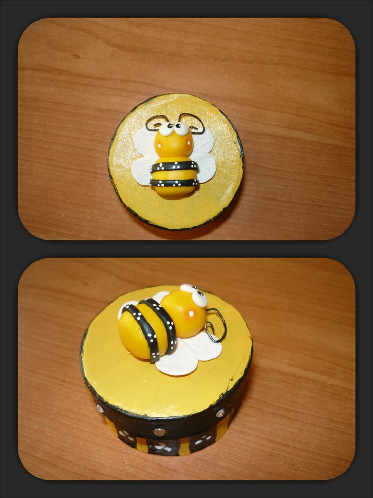 #Polymer #clay #bee applied on a little #box inspired of it.