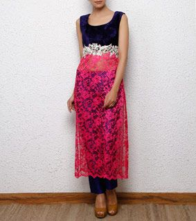 Navy Blue & Pink Velvet Kurta with Pants