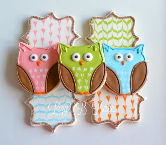 Cheery Owl Cookies by LizyBsbakeshop on Etsy, $42.00