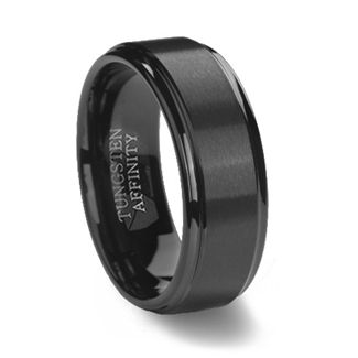 This black tungsten carbide ring has it all. The allure of a black wedding ring combined with the unmatched strength of tungsten, to form a superior band.