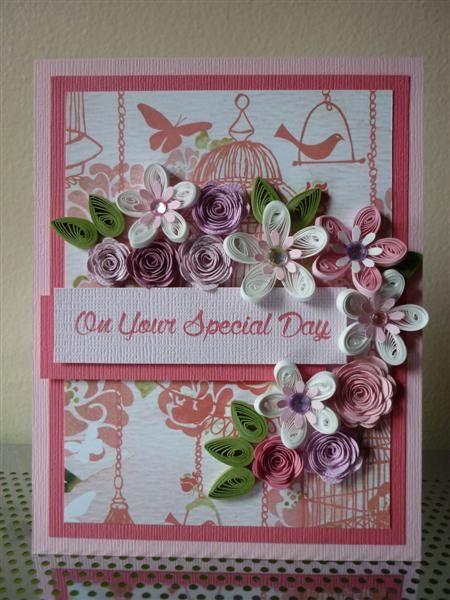 """La main salutation papier rose Quilling Card """"Sur une journée spéciale"""" avec Roses piquants (anniversaire, anniversaire, mariage)"""