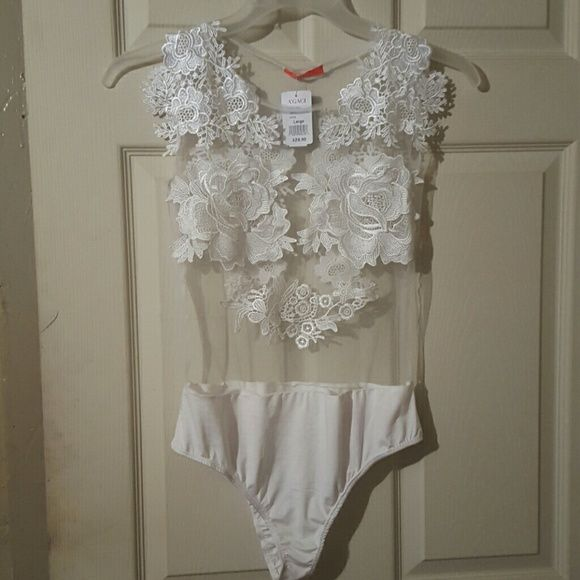 Lace bodysuit All white lace bodysuit real cute never worn Tops Blouses
