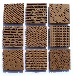 LESSON 2: Objective- working in small groups, students will create a cardboard relief that illustrates an EoA, while working in a series (about 4-9 pieces). Later, combine each series set to create 1 large display of the elements of art. Maybe exclude the EoA: Color.