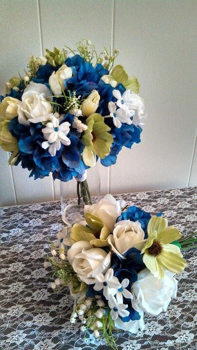 Horizon blue and green wedding bouquets, using silk flowers....just needs more vibrant green, like ferns or something