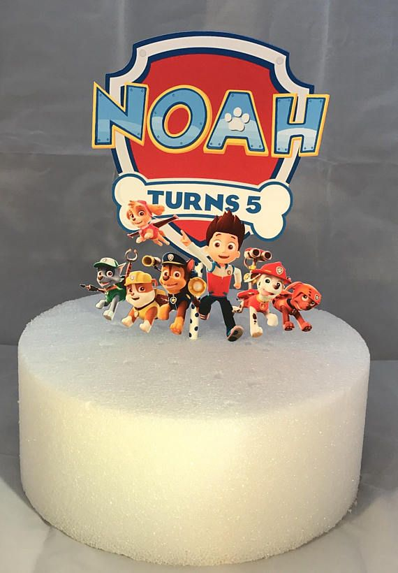 Customized Paw Patrol Cake Topper. Width: 6 inches Matte Photo Paper + card stock Glossy photo paper is also available. Other themes that you are interested can be customized as well. Just send us a message. Thank you for looking, Sam & Paper