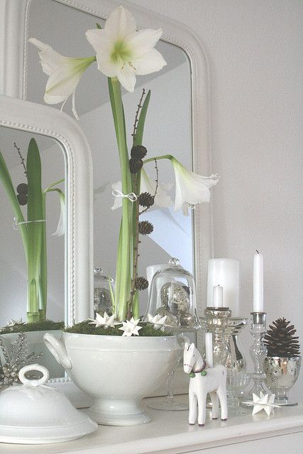 Silver and white decorations