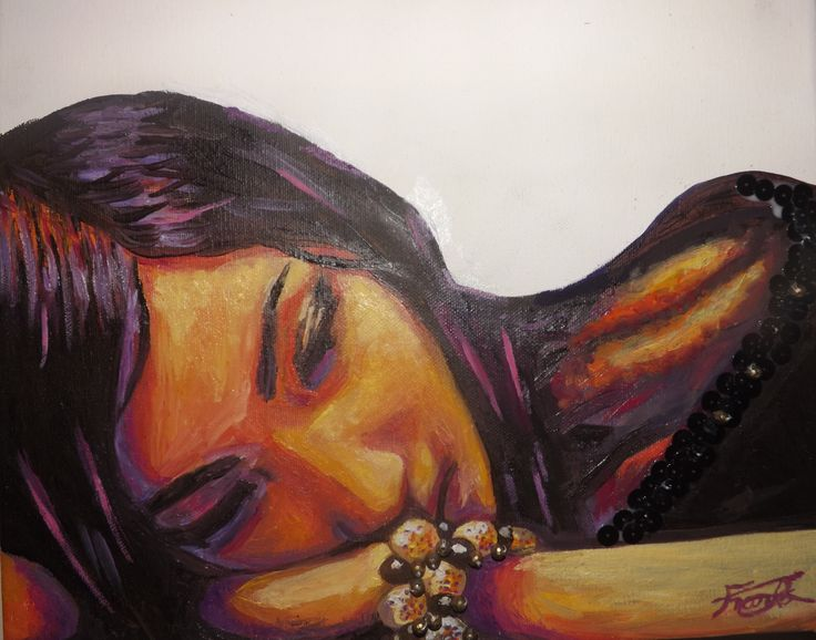 Contemplation. Oil painting by Jacqueline Franks, with sequin and bead detail.