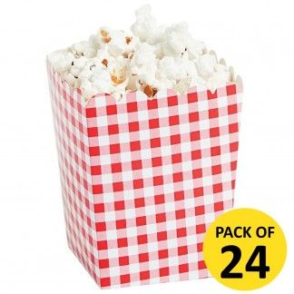 Red Gingham Mini Treat Boxes (Pack of 24) - Discount Party Supplies