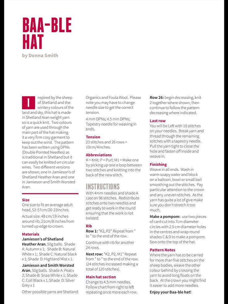 Baa-ble hat pattern