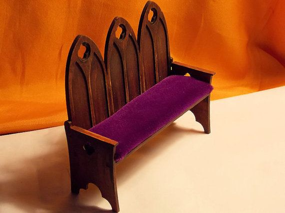 Doll House Gothic Bench - Dollhouse Wood Church Pew or ...