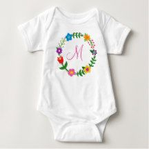 Monogrammed Bodysuit Letter M Frame Flowers. great new baby, one year, or Christmas gift for a girl whose name starts with M: Mary, Maria, Marie, Miranda, Mandy, Marissa, Michelle, Mariah, Mia, Melissa, Megan, Madison, Maia, Magdalena, Maika, Molly, Monica, Melanie, Mackenzie, Mikayla, Michaela, Meredith, Mira, Mara, Malea, Malika, Malin, Malina, Malene, Makaria, Martha, Maggie, Margaret, Meghan, Matilda, Mimi, Maureen, Marcia, and so on. There are two types of cursive M letters to choose…