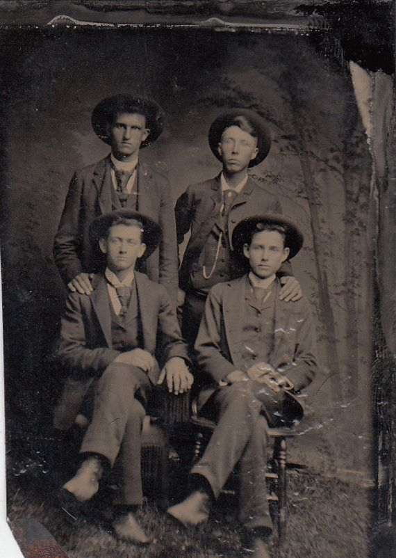 Victorian Sixth Plate Tintype 4 Men in Hats by LangdonsListPhotos, $4.00