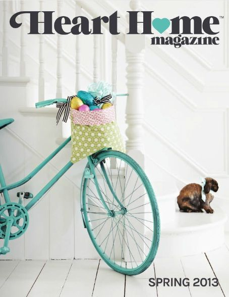 This magazine uses a heart to help symbolize the love of home. It is also a play on words since the word heart is in the title. I also like how the blue of the heart is the same color as the bike.