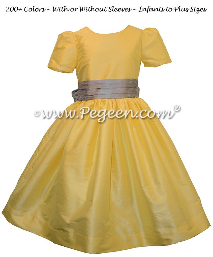 8 best yellow flower girl dresses weddings by pegeen images on silver gray and saffron yellow custom silk flower girl dresses mightylinksfo