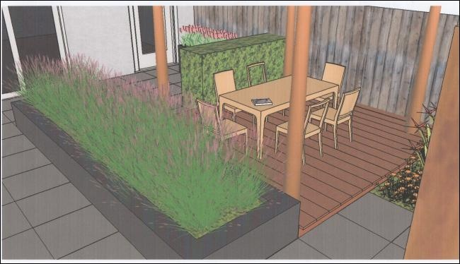 tuinvoorbeeld van een moderne tuin met vlonder en verhoogde border