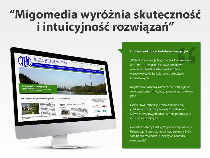 Instytut Energetyki. Wykonanie 4 stron internetowych.