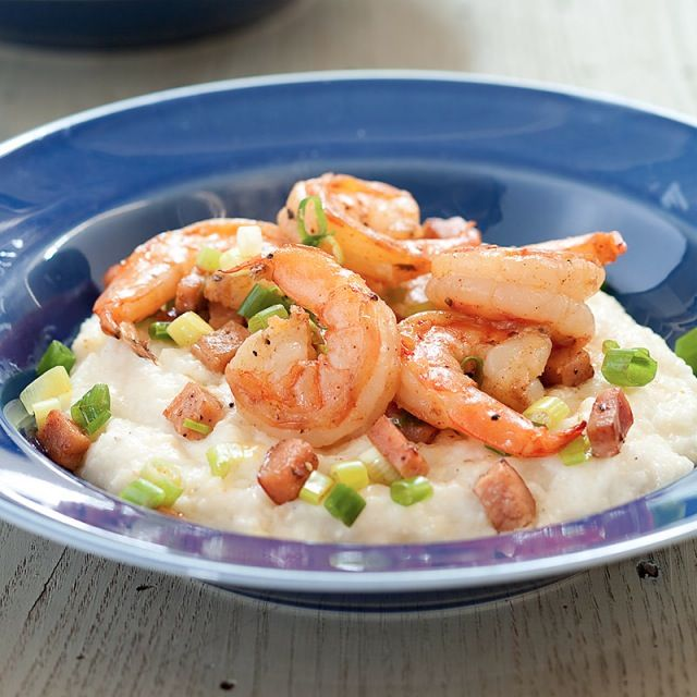 Shrimp with Ham and Cheddar Grits Recipe | Food ...
