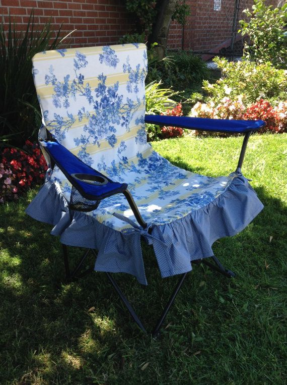 Blue And Yellow Print Glamping Chair Cover, Glamorous Camping Outdoor Seat  Cover. Luxury Camping Folding Chair Cover For Glamping