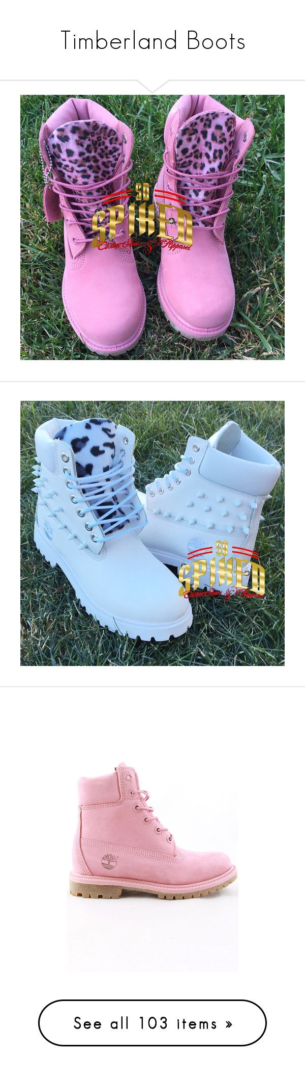"""Timberland Boots"" by missk2blue ❤ liked on Polyvore featuring shoes, gold, women's shoes, rose shoes, gold shoes, gold spiked shoes, spike shoes, pink shoes, boots and black"