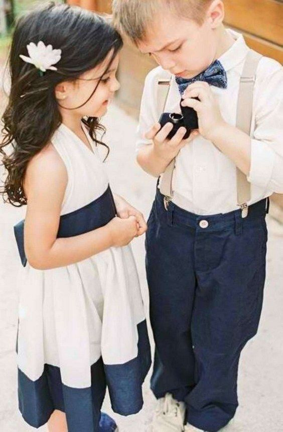 navy blue and white flower girl dress and ring bearer wear / http://www.deerpearlflowers.com/navy-blue-and-white-wedding-ideas/