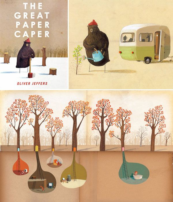 listed amongst the 20 most beautiful illustrated stories... (The Great Paper Caper, written and illustrated by Oliver Jeffers)