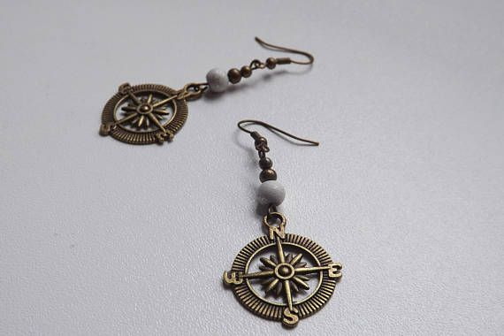 Handmade bronze earrings Compass earrings Travel jewelry