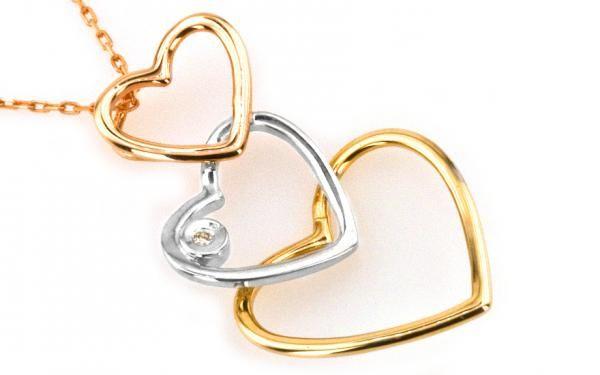 """Zlatý diamantový náhrdelník""""hearts behind"""" Viac farebné 14 k zlato"""