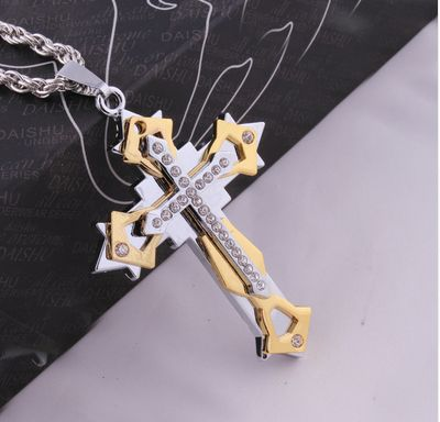 Christmas gifts: 18KGold plated necklace lucky Rhinestone cross nec...