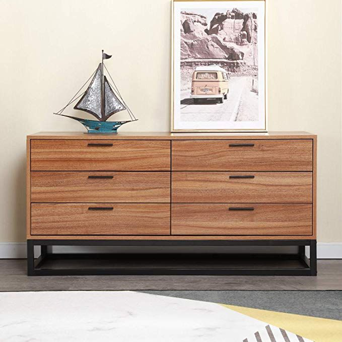 Soges Premuim Standing Storage Cabinet With 6 Drawers Wood Dressers Drawer Chest Cabinet Console For Entryway Liv Wood Dresser Buffet Cabinet Storage Cabinet