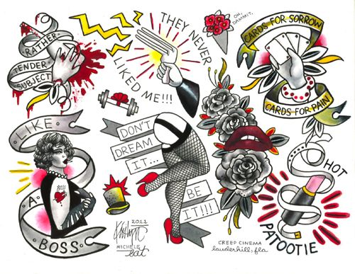 Rocky Horror Tattoo Flash this is the best thing ive ever seen. Ever. #rhps #tattoo #flash