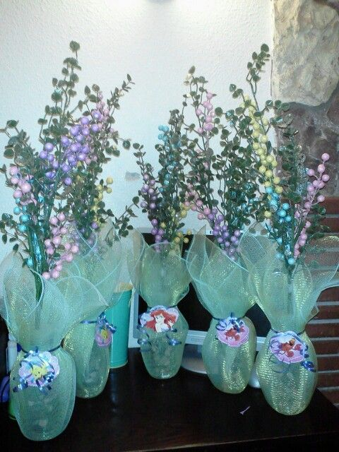 """The Little Mermaid """"seaweed"""" centerpieces"""