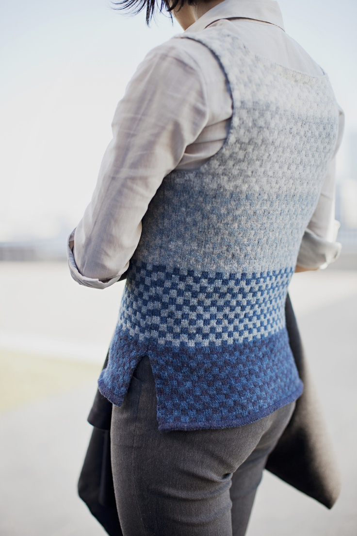 Brooklyntweed | WOOL PEOPLE 2 TRACE. stranded vest with graphic gradient.