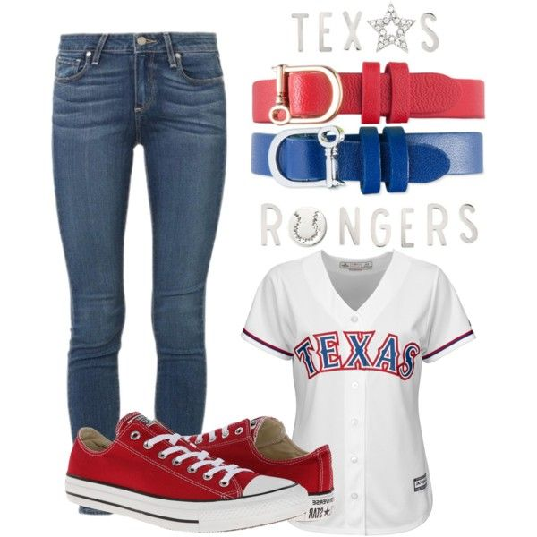 Texas Rangers Outfit by odonata21 on Polyvore featuring Paige Denim, Majestic, Converse and keepcollective  keep-collective.com/with/emilyyanez