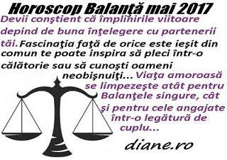 În horoscopul Balanţei mai 2017 prevalează îmbunătăţirea parteneriatelor, o transformare notabilă ce-ţi este inspirată de adâncirea în unive...