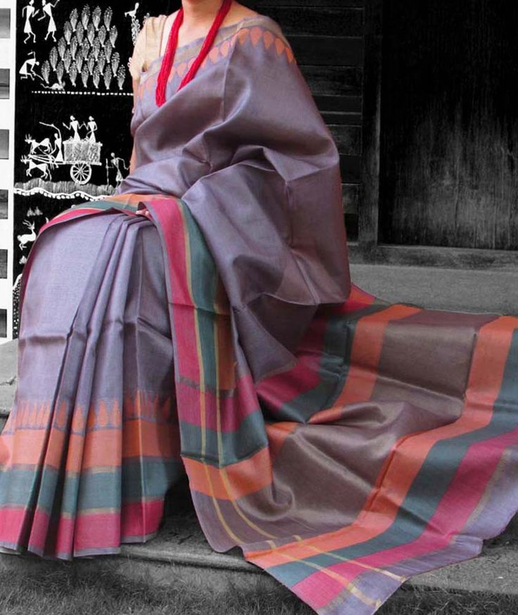 Elegant & Fine Tussar Silk Saree with woven patterns