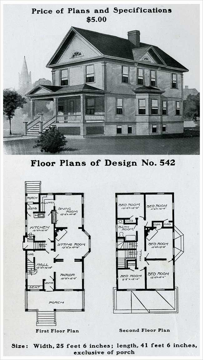 Radford 1903 colonial revival pedimented full width for Antique colonial house plans