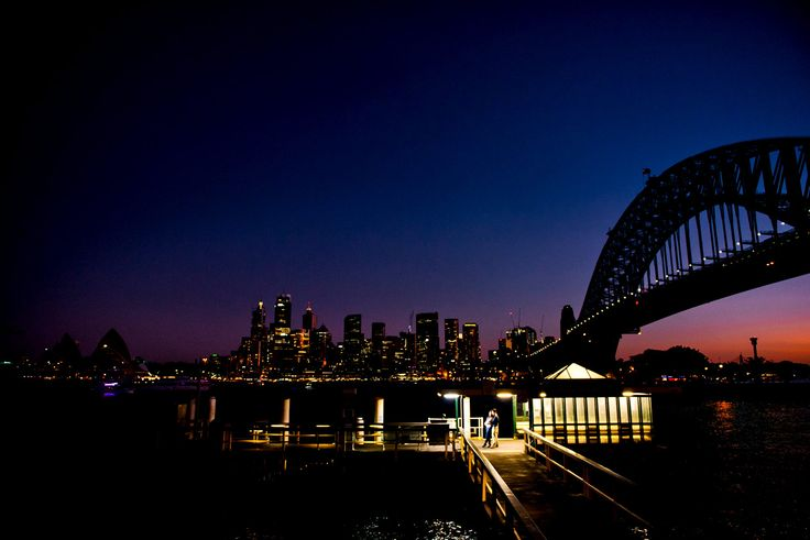 Night time engagement photos in Sydney