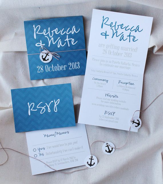 Nautical DIY printable wedding invitation / by Polkadot Stationery