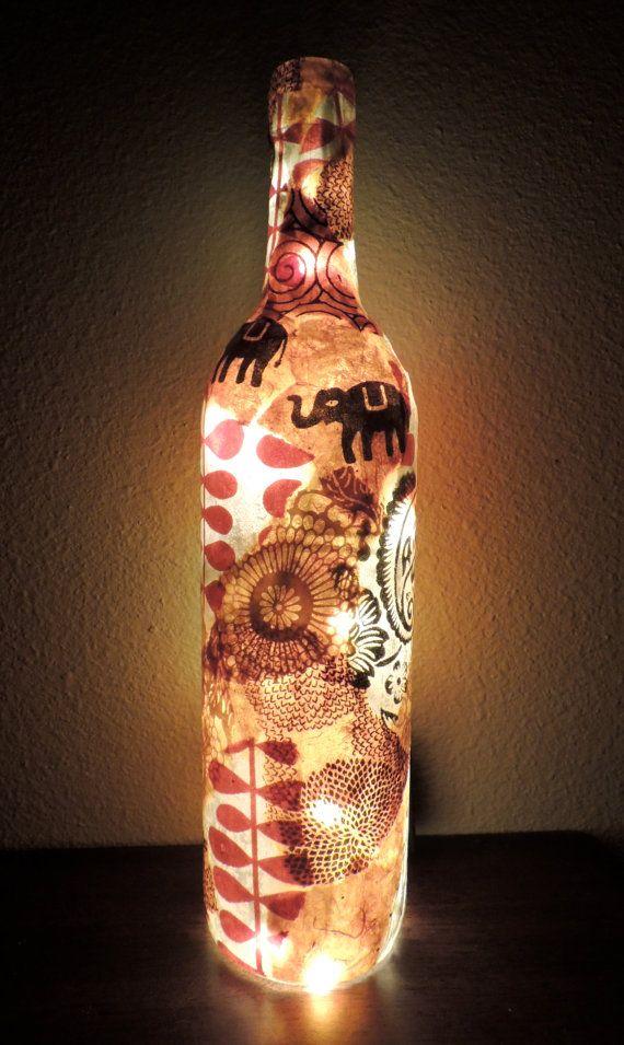 New Wine Bottle Light Wine Bottle Lamp Decoupage Wine